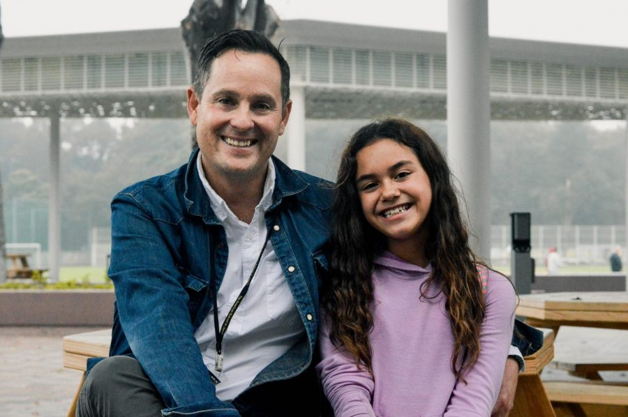 Our new high school principal Mr. Herzenberg shares a smile with his daughter, Indah (Grade 5). He gives some advice on how students can navigate their lives, finding their passions and dreams.
